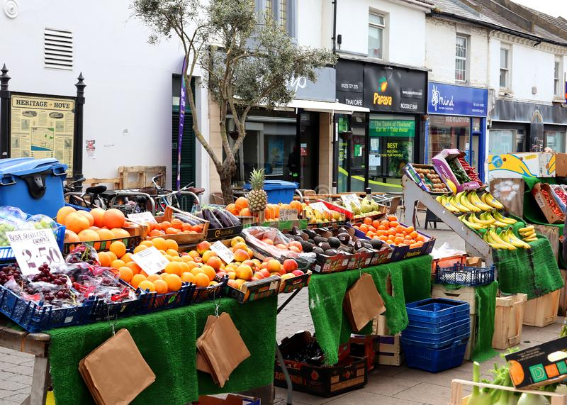 Fruit stall on George Street in Hove. An outdoor fruit stall on George Street in Hove, Sussex, England royalty free stock images
