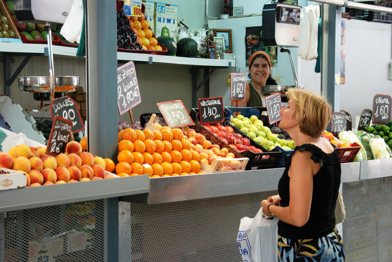 Fruit stall at the indoor market, Malaga. royalty free stock photo