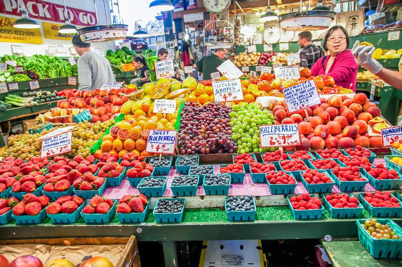Fruit Stalls in Pike Place Market,This is a famous place in seattle,USA stock image