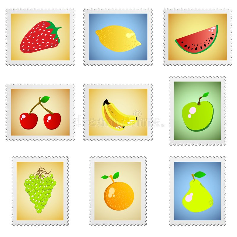Fruit stamps vector royalty free illustration