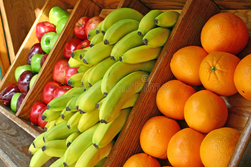 Fruit Stand. With fresh oranges, apple, bananas royalty free stock photo
