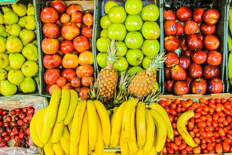 Fruit Stand Detail Healthy Food Lemon Marketplace. Sale Food Pomegranate stock images
