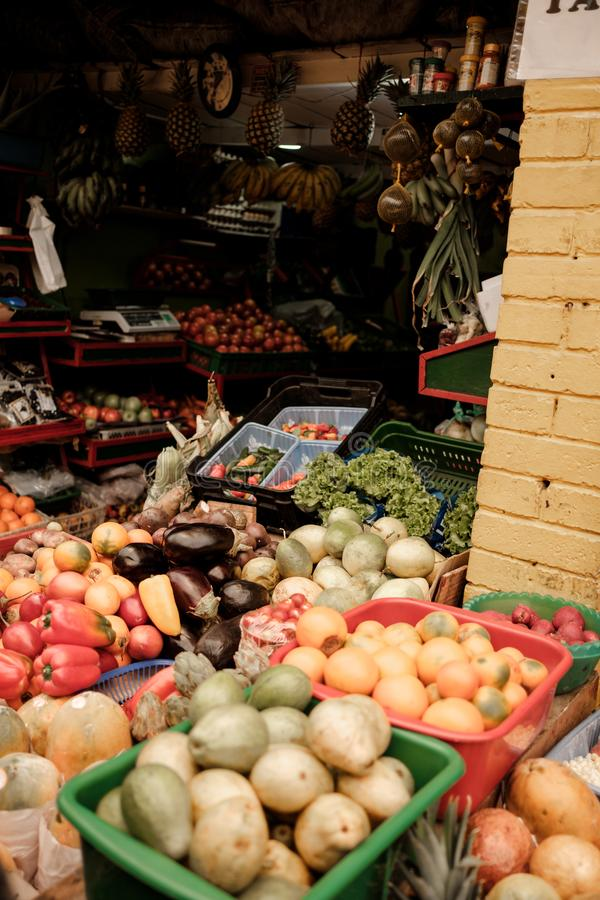 A fruit stand on a food market in South America. Fruits just taste better in South America. This photo gives a taste of the colourful options this continent has royalty free stock photos