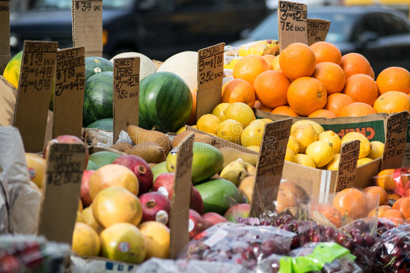 Fruit Stand in NYC royalty free stock photos