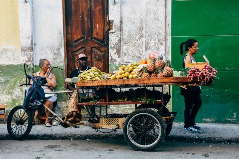 A fruit stand in Havana, Cuba. A fruit stand sits on the sidewalk in Havana, Cuba royalty free stock photo
