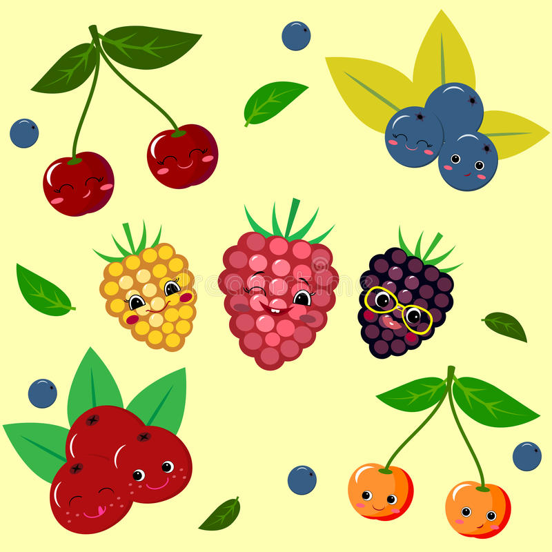 Fruit Sticker Collection. stock illustration
