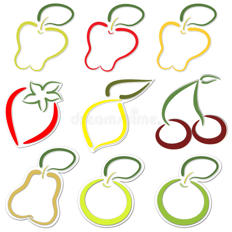 Download Fruit stickers stock illustration. Illustration of cherry - 24686876