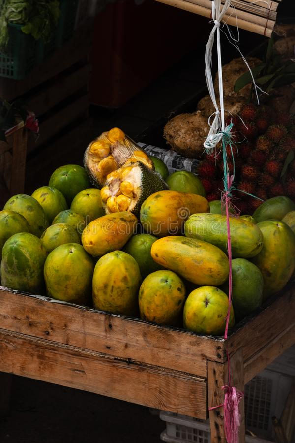 Fruit store in traditional market on jakarta, Indonesia stock photo
