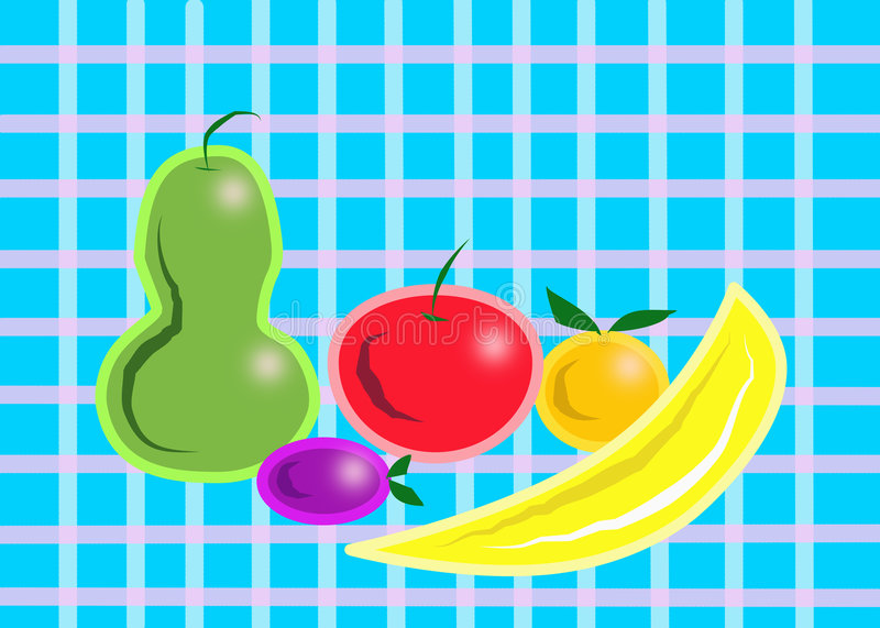 Download Fruit on the Tablecloth stock illustration. Illustration of blue - 7455739