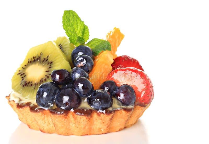Fruit tart. Fresh fruit pie tart with kiwi, blueberry, orange and strawberry stock photos
