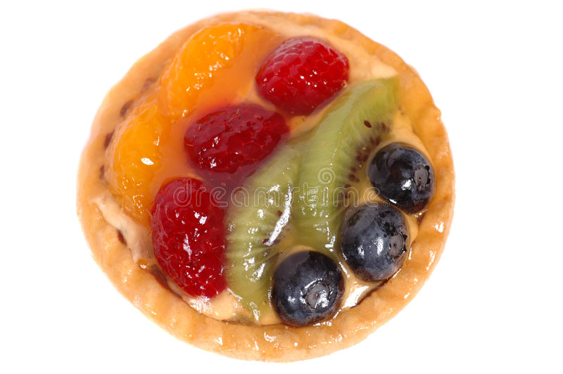 Fruit tart on white plate 4 stock photo