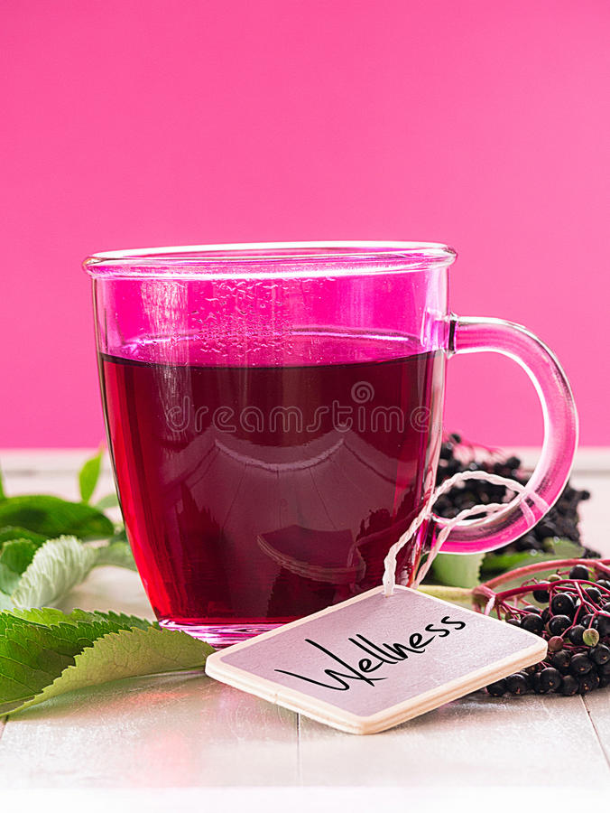 Download Fruit tea with elderberry stock image. Image of discomfort - 33135479