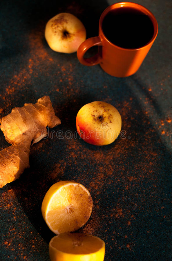 Fruit tea with spices stock images