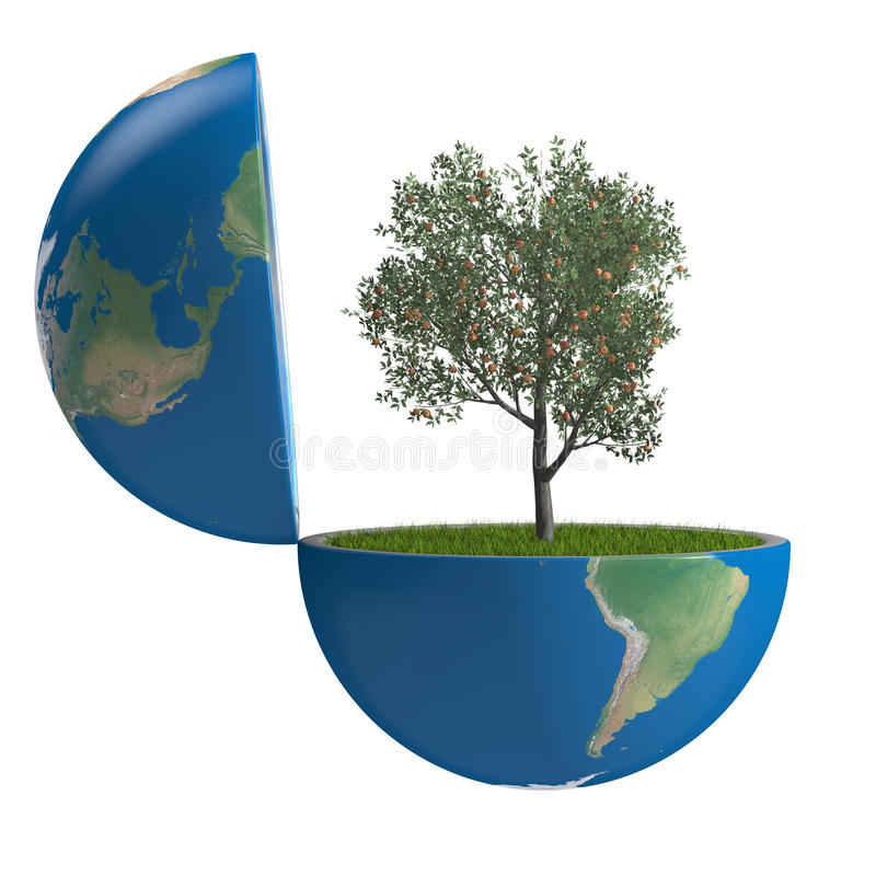 Fruit tree inside planet royalty free illustration