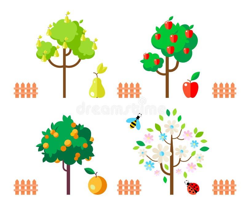 Fruit trees apple, pear, orange, flowering tree. Cartoon apple tree isolated on white background vector illustration
