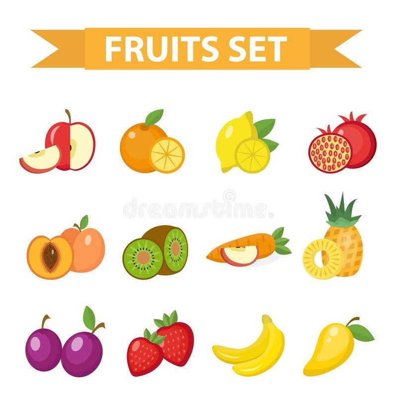 Fruit vastgestelde vectorillustratie Vruchten pictogram, vlakke stijl vector illustratie