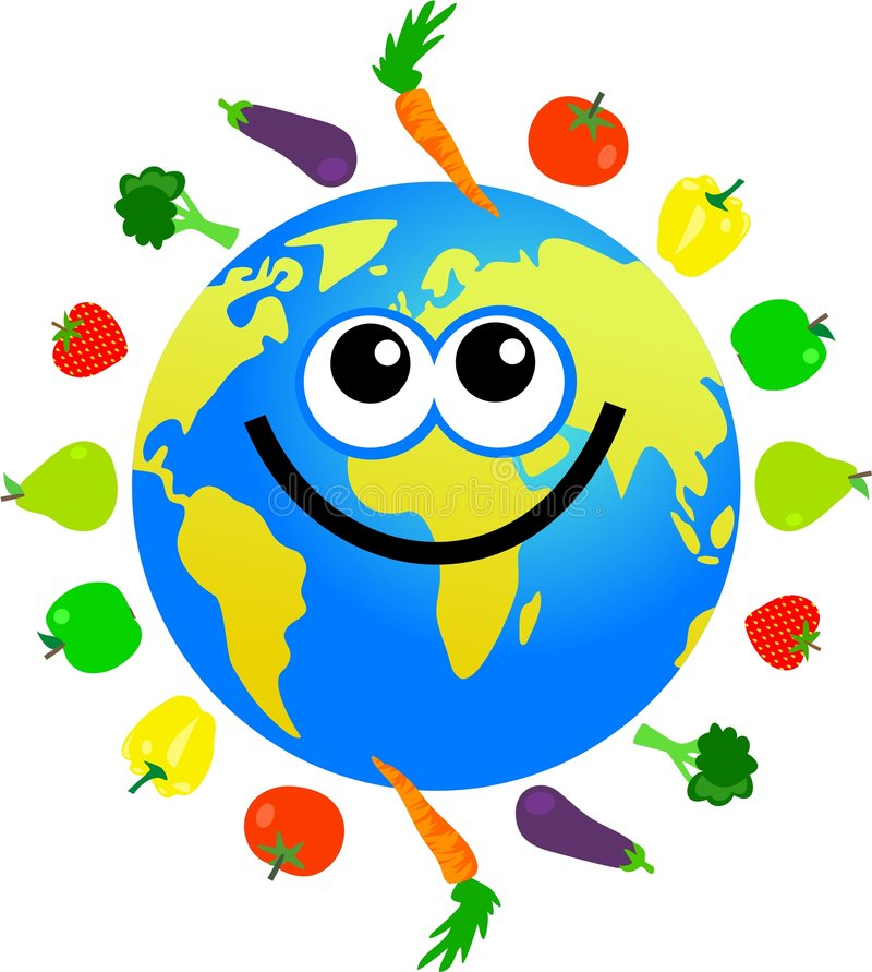Fruit and veg globe vector illustration