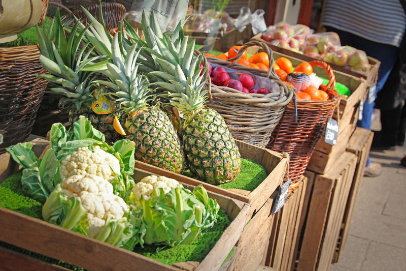 Fruit and veg stall market stock images