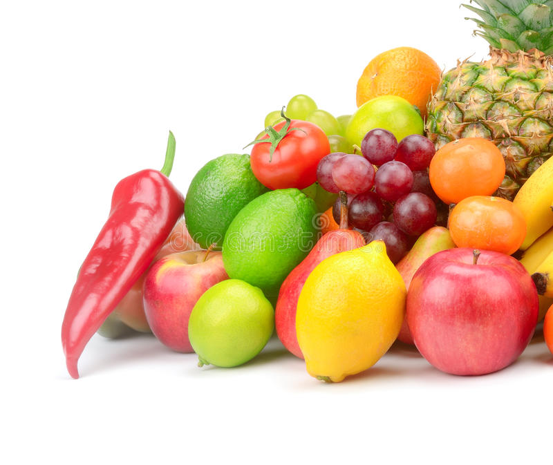Fruit and vegetable. Fruits and vegetables isolated on white background stock photo