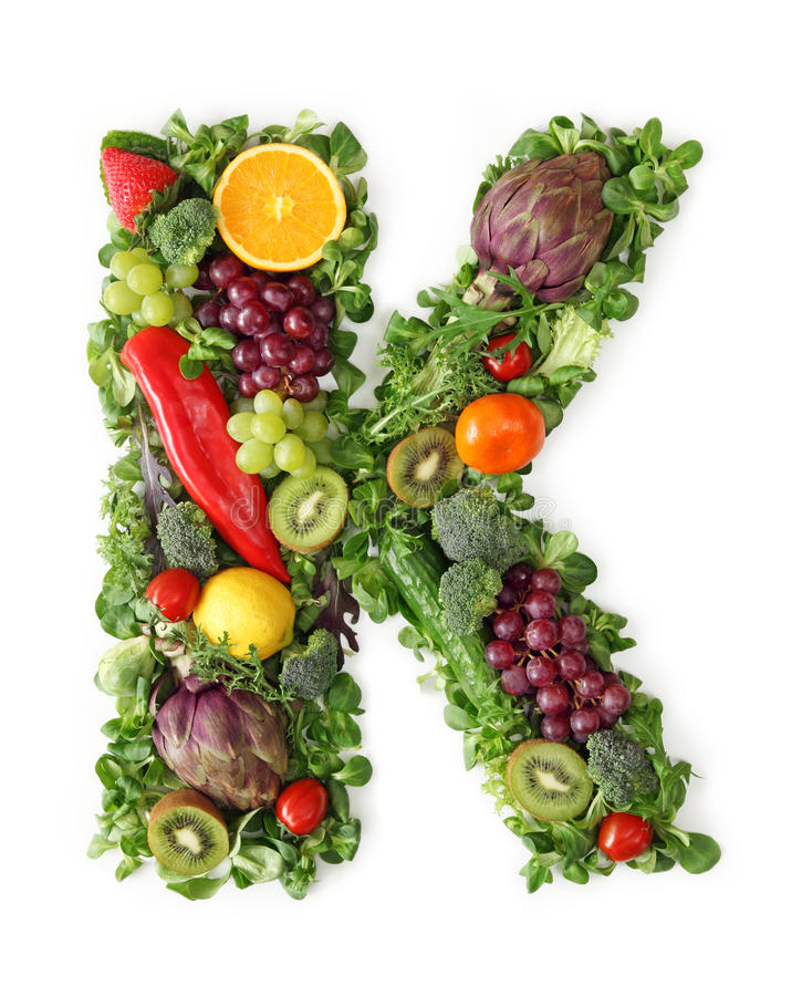 Fruit and vegetable alphabet stock image