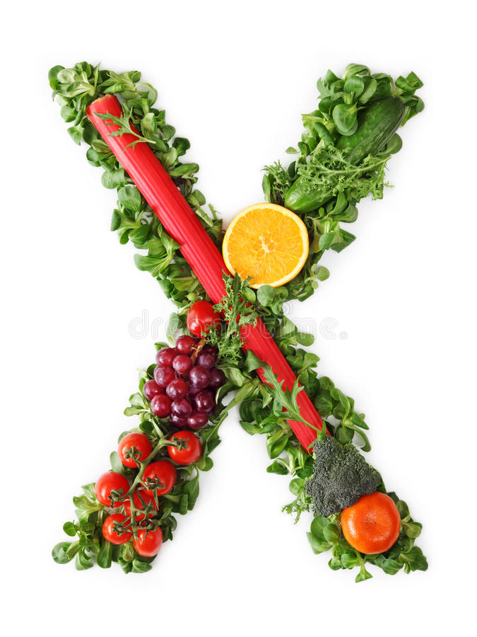 Fruit and vegetable alphabet. Letter X royalty free stock images