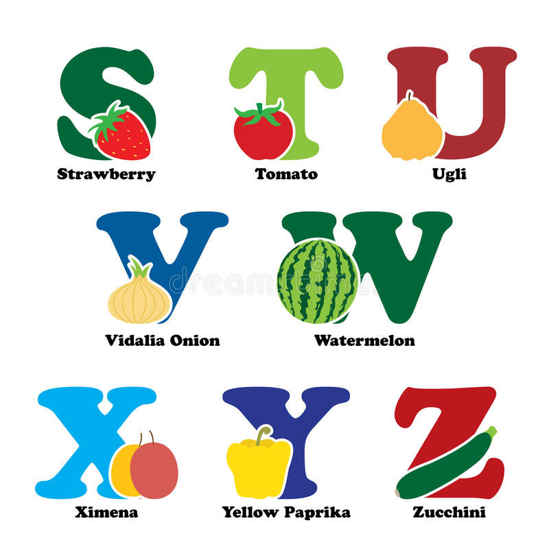 Fruit and vegetable alphabet vector illustration