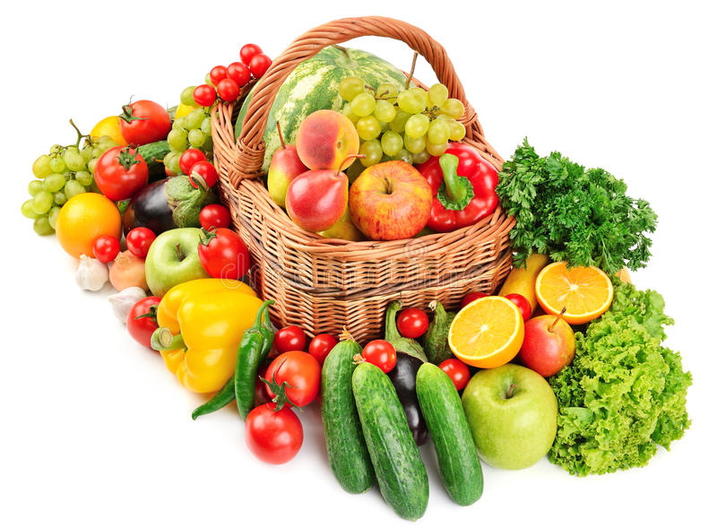 Fruit and vegetable in basket. Isolated on white background stock photos