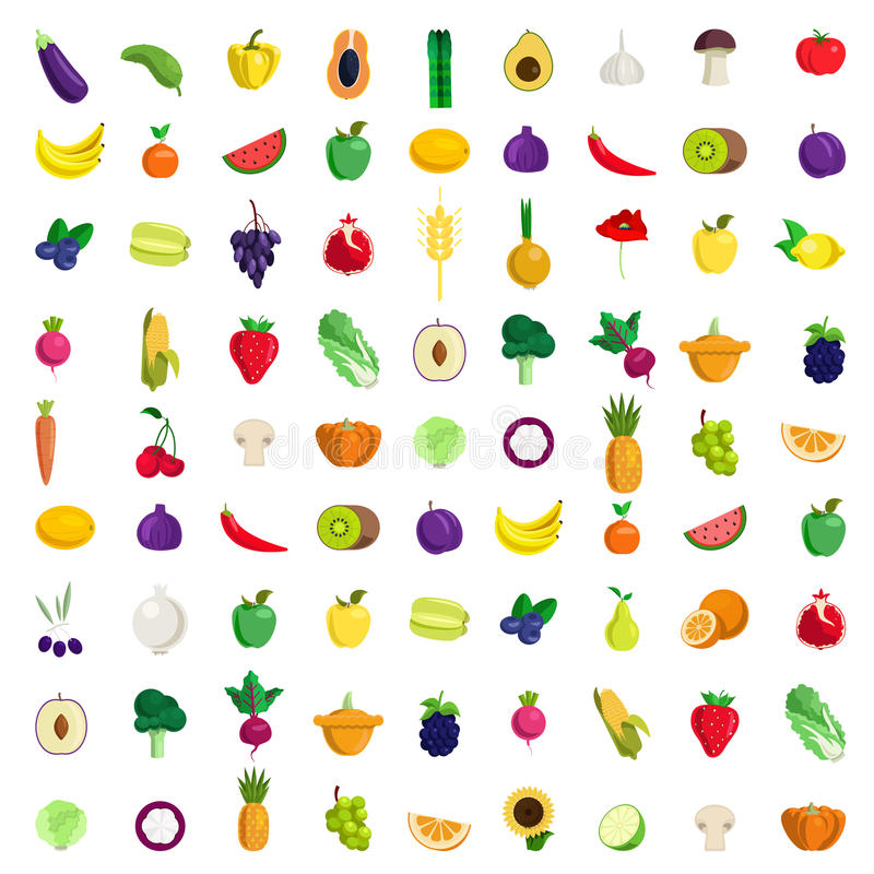 Free Fruit Vegetable Berry Mushroom Plants Vector Flat Food Icon Royalty Free Stock Images - 59050799