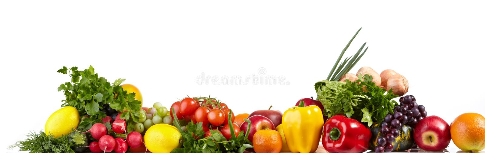 Fruit and vegetable borders stock images