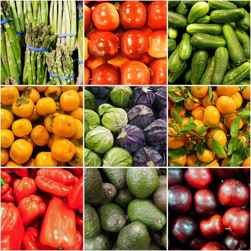 Fruit and Vegetable collage stock photography