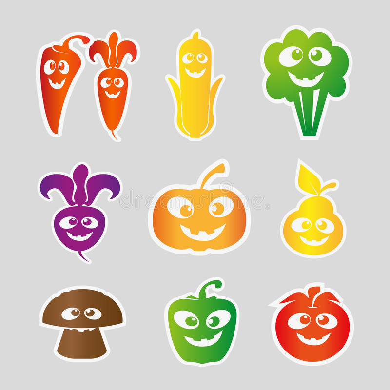 Fruit and vegetable Collection . Vector Illustration stock photography