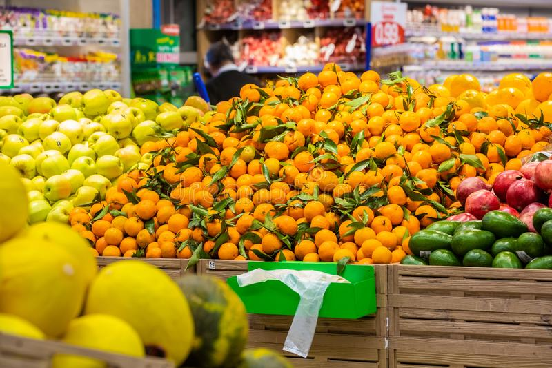 Fruit and vegetable department with numerous varieties stock photo