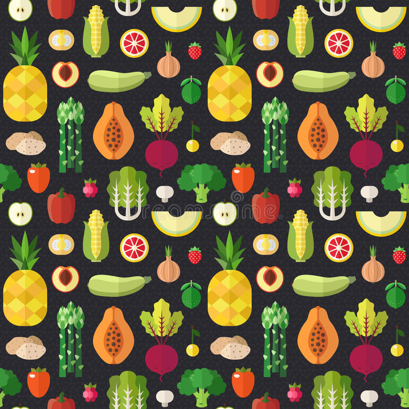 Fruit and vegetable flat vector seamless pattern. Part two. Fruit and vegetable flat style vector seamless pattern. Wrapping paper design. Part two vector illustration