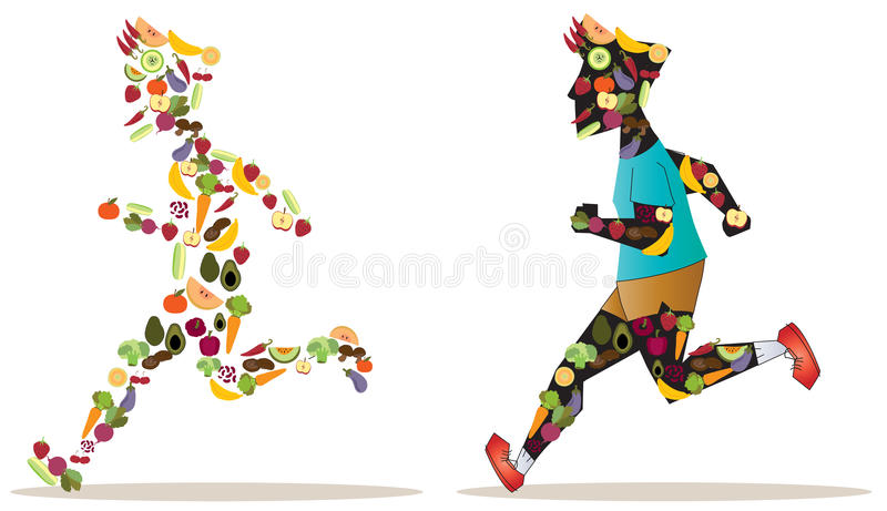 Fruit and vegetable icon in sportsman human shape are running an stock illustration
