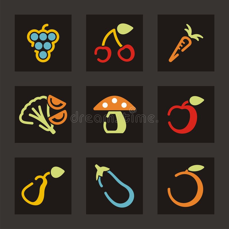 Download Fruit and Vegetable Icons stock vector. Image of carrot - 1971799