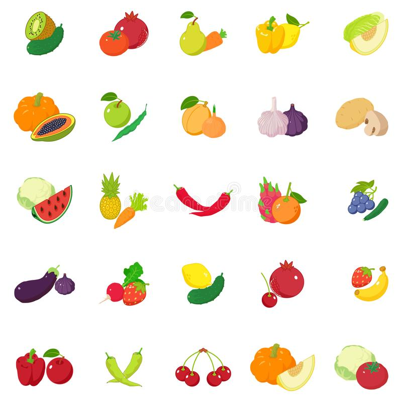 Fruit and vegetable icons set, isometric style vector illustration