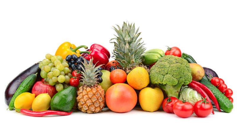 Fruit and vegetable. Isolated on white background royalty free stock image