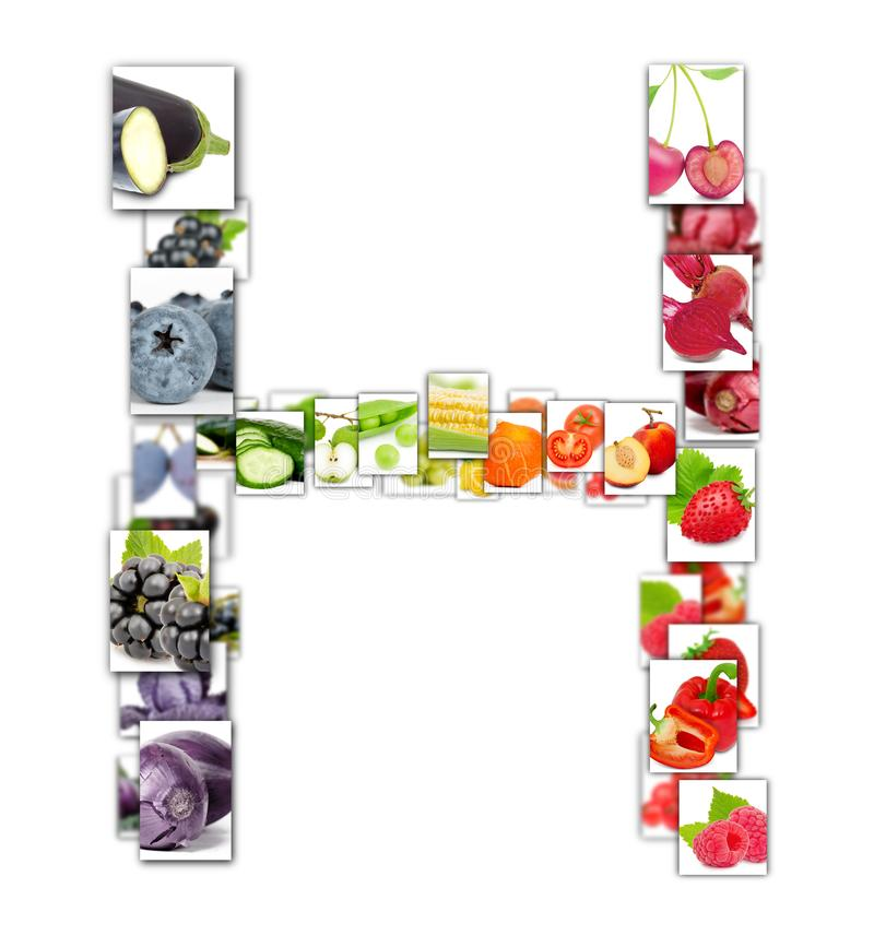 Fruit and Vegetable Letter royalty free stock photo