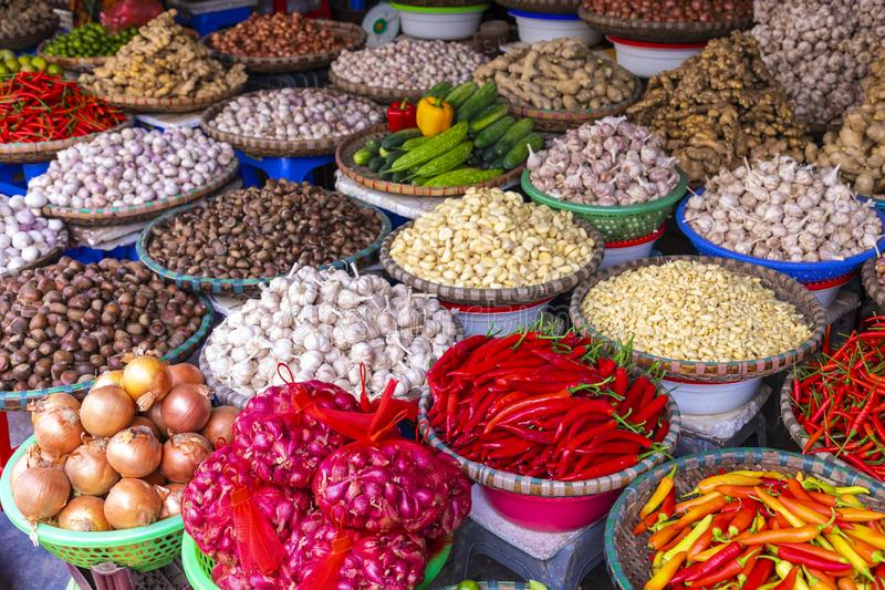 Fruit and vegetable market in Hanoi, Old Quater,Vietnam, Asia royalty free stock photos