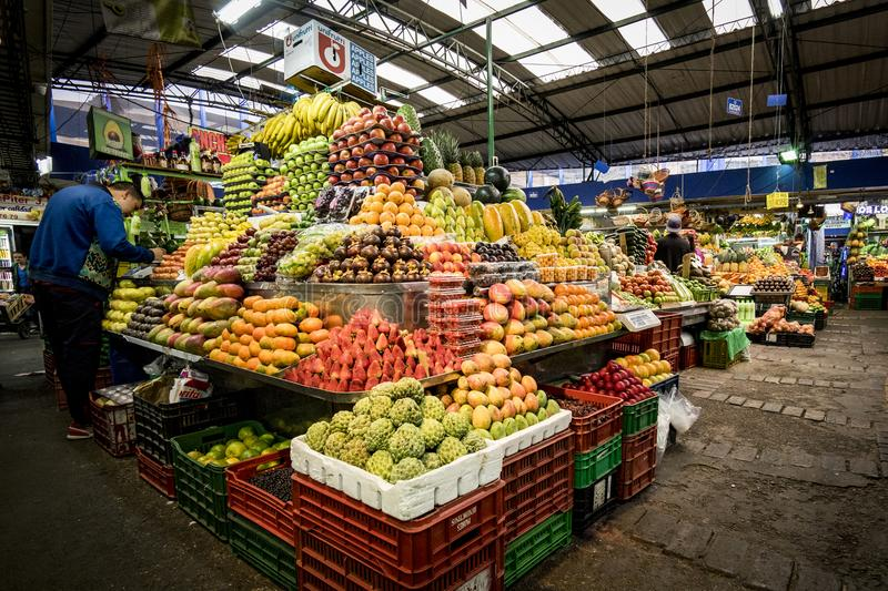 Fruit and Vegetable Market, Paloquemao, Bogota Colombia. A large variety of fruit and vegetables on display in the Paloquemao Market, Bogota Colombia`s stock image
