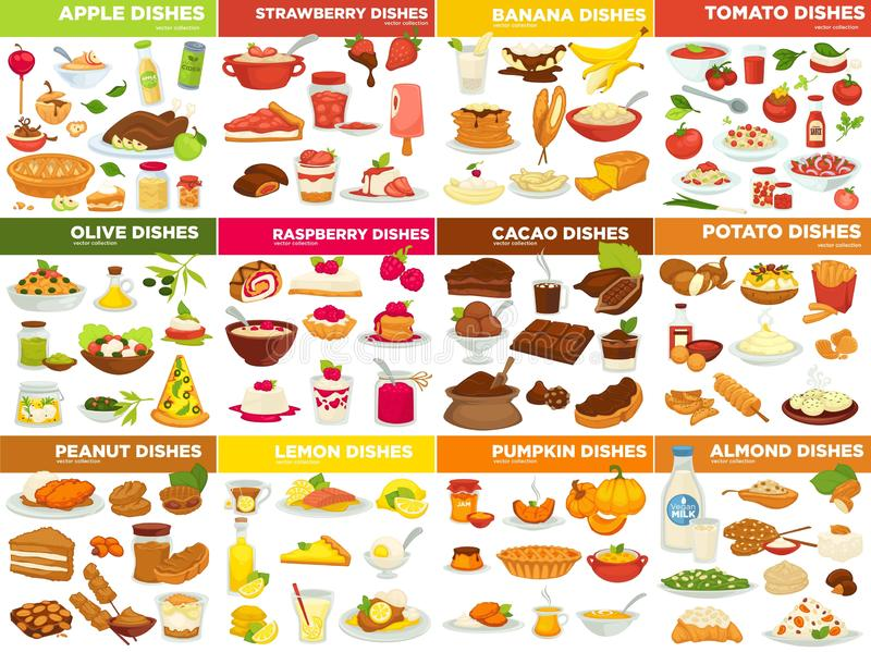 Fruit vegetable and nut dishes food cooking recipes stock illustration
