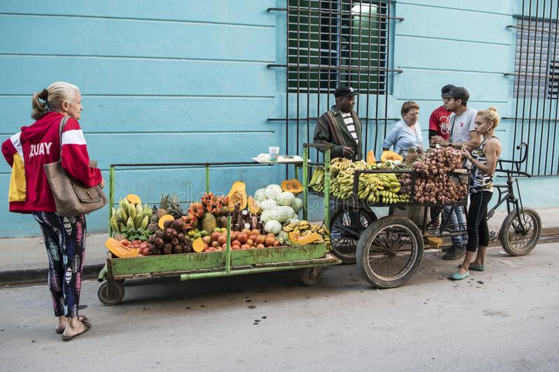 Fruit and vegetable seller in street of Havana, Cuba stock photos