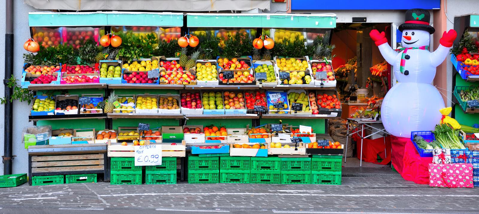 Fruit and vegetable shop royalty free stock photography