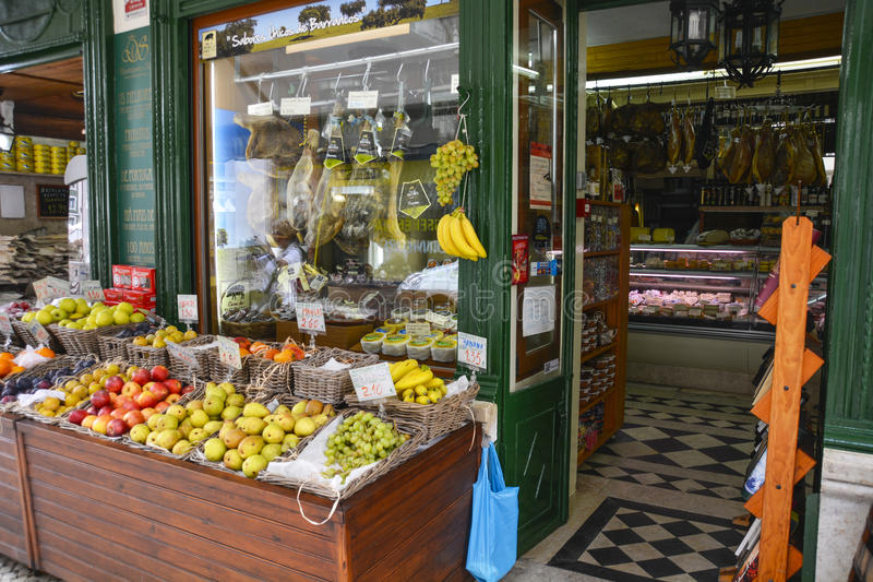 Fruit and Vegetable Shop in Lisbon stock image