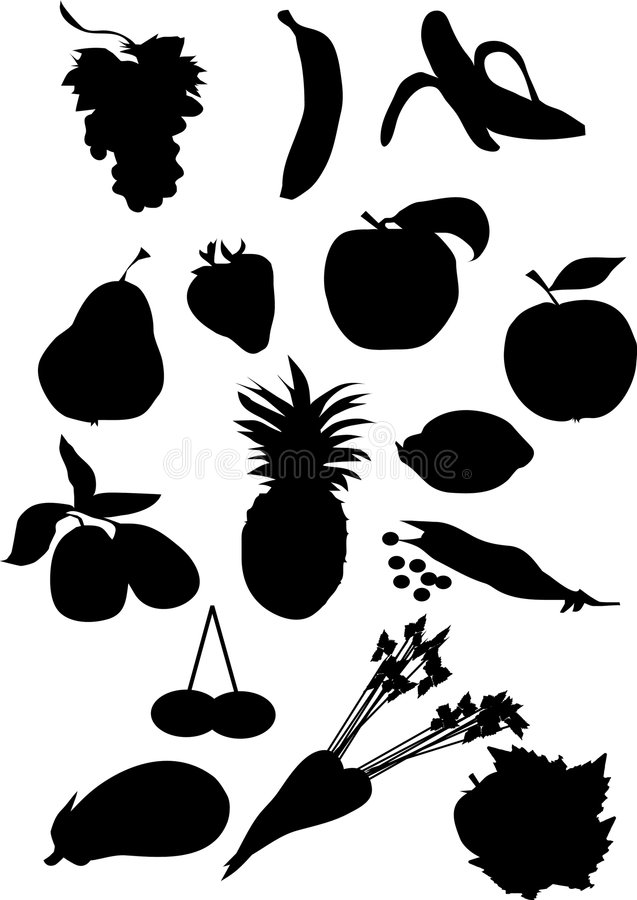 Fruit and vegetable silhouette royalty free stock photography