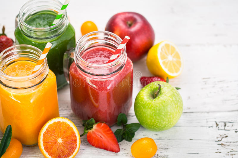 Fruit and vegetable smoothies. Healthy fruit and vegetable smoothies stock images