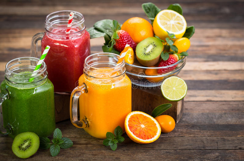 Fruit and vegetable smoothies. Healthy fruit and vegetable smoothies stock image