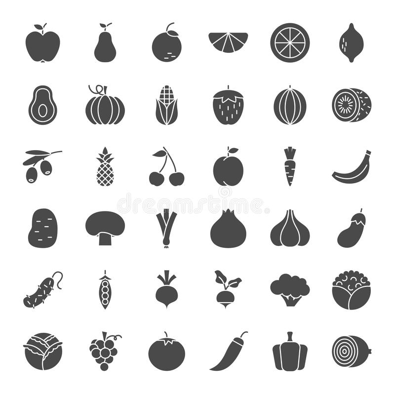 Fruit Vegetable Solid Web Icons stock illustration