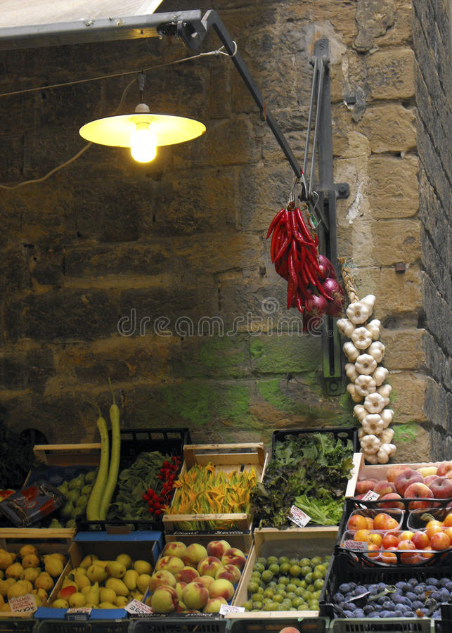 Fruit and vegetable stand on street of Florence, Italy royalty free stock photo