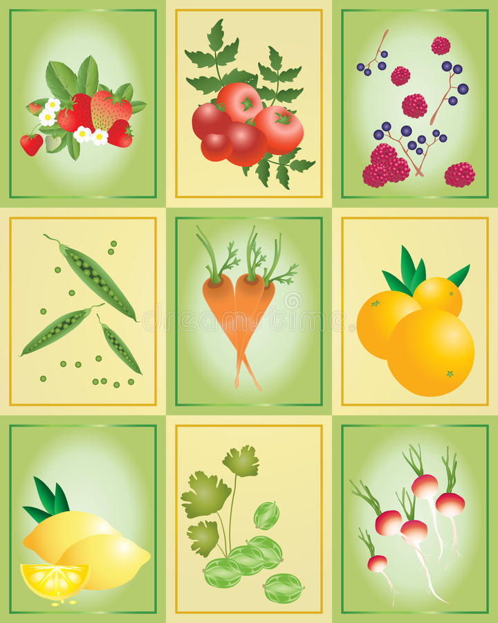 Download Fruit and vegetable tiles stock vector. Illustration of peas - 17870202